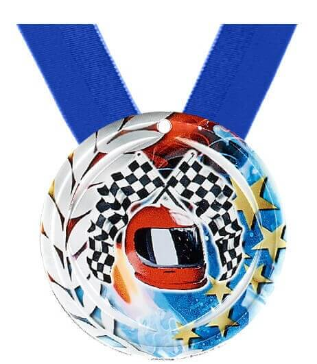 70mm Motorsportmedaille inkl. blauem Band